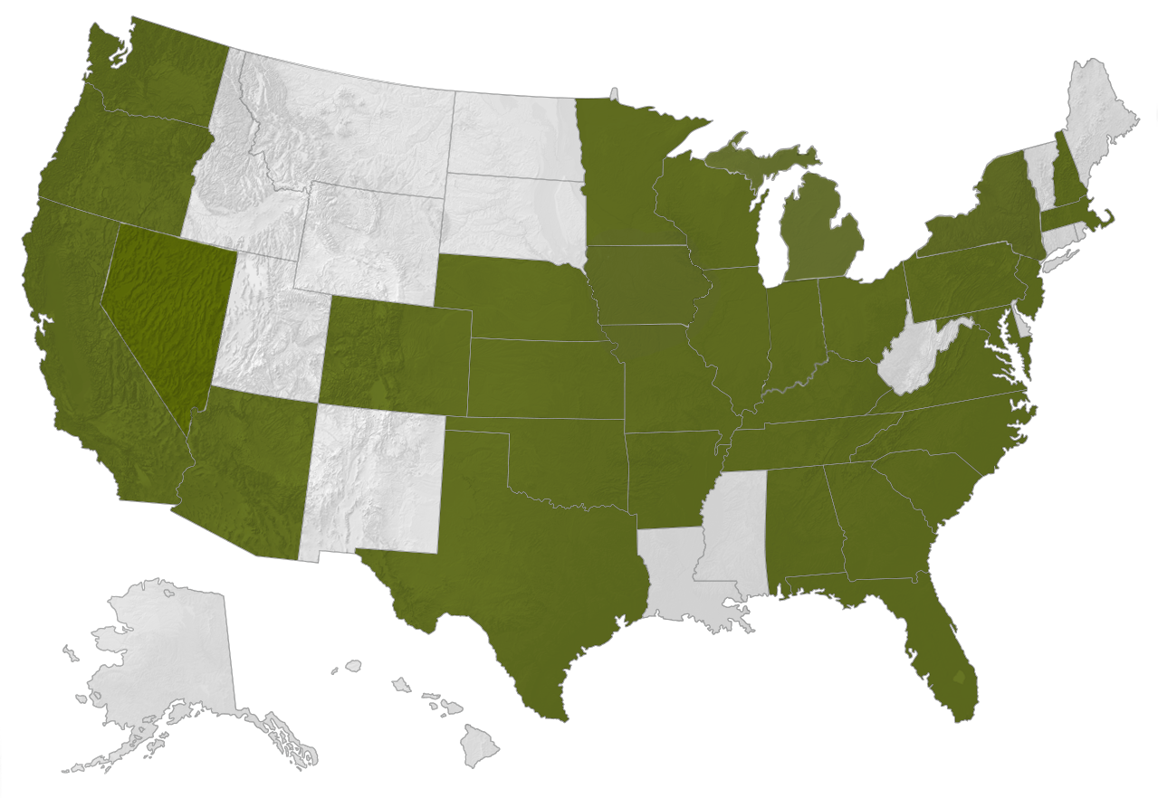 United State Map of the Primrose School markets